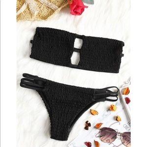 NWT Zaful Bandeau Smocked Bikini w/ Bottoms